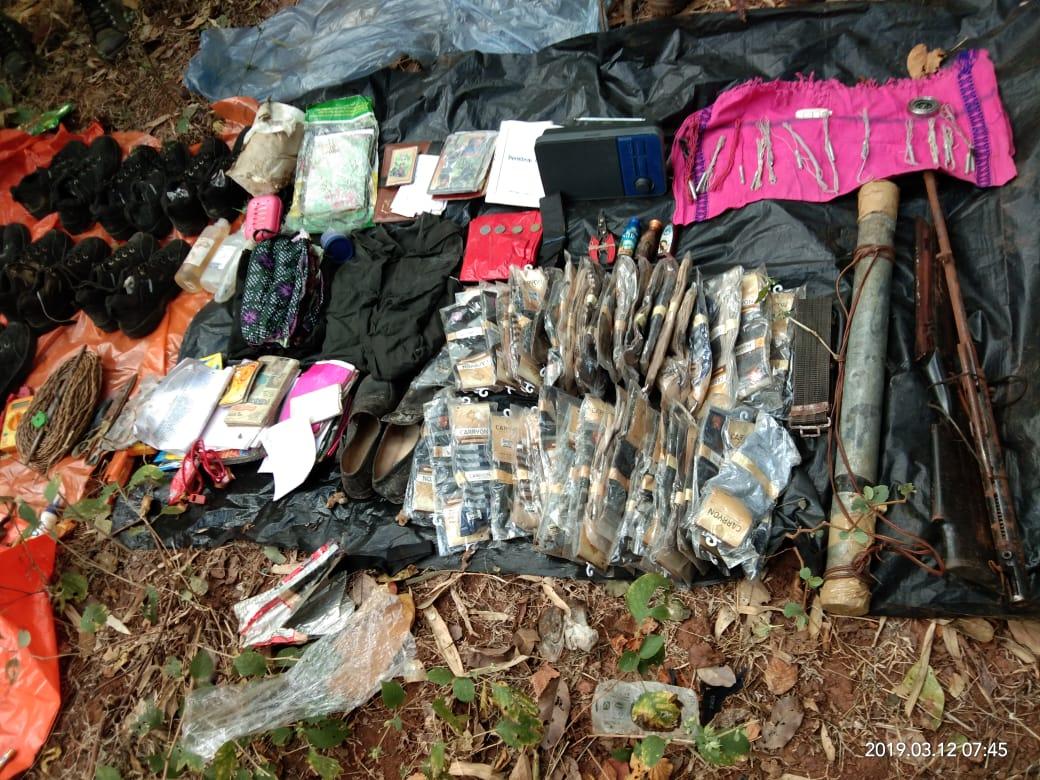 पाइम बम, डेटोनटर सहित भारी मात्रा में नक्सलियों को डंप बरामद