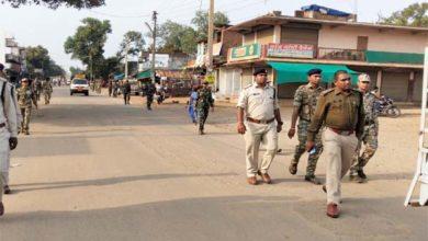 पखांजुर में पुलिस ने किया फ्लैग मार्च
